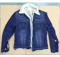 Royal wolf sherpa fleece jacket factory garment factory in china lined fur denim jacket with fur collar