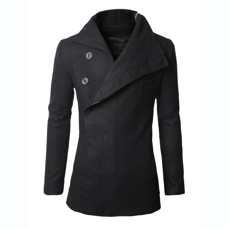 European style fashion mens irregular woolen trench coat <strong>M</strong>/L/XL
