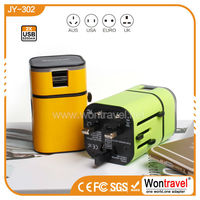 JY-302, New generation CE FCC RoHS approved custom logo travel adapter OEM electronic gift
