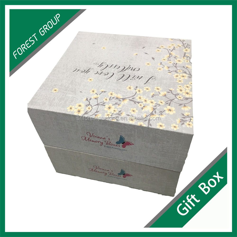 Fancy printing cardboard hinged gift box with gold foil stamping