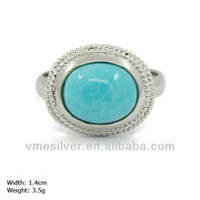 RXH-0967 925 Silver Eye Ring with cz stones & Ocean Blue Opal Stamped 925/S925
