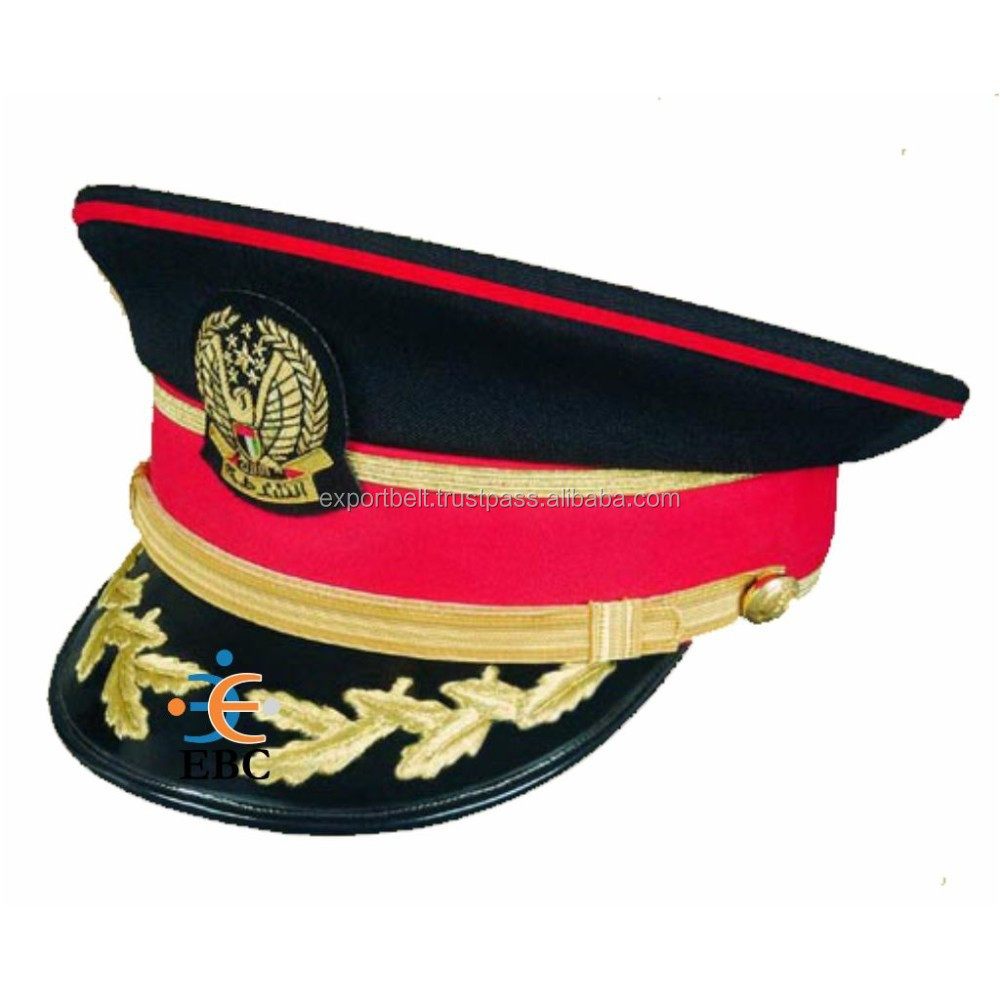 UAE Chief Security officers peak Cap, Arabian & African security officers peak cap with hand embroidery insignia badge