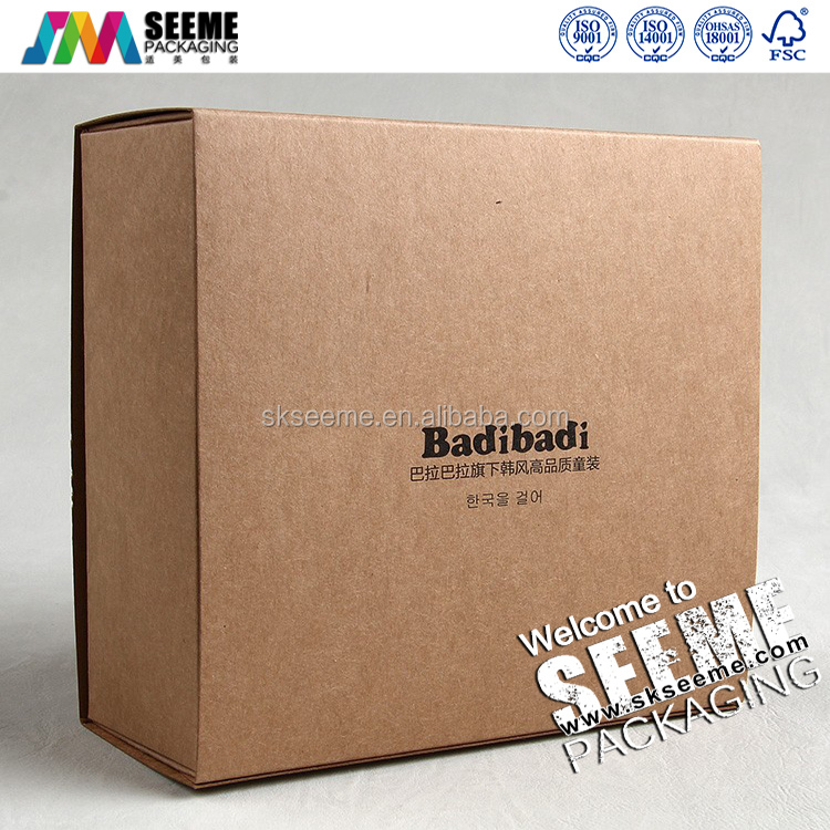 Wholesale Recycled Kraft Paper baby cloth packing Gift Box