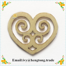 2016 alibab best selling laser cut wood ornament heart shape, wooden decoration crafts