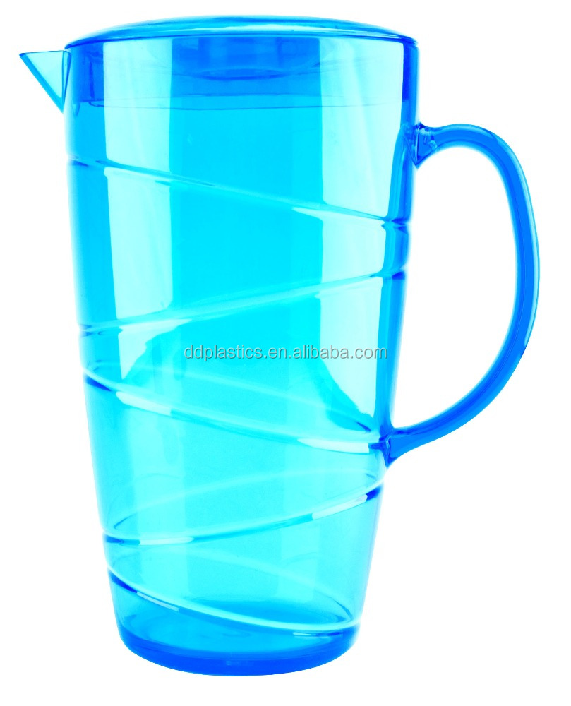 DD 2.5 liter unique blue clear acrylic plastic water pitcher