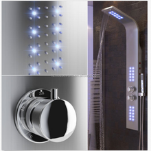 LED light stainless steel thermostatic bathroom faucet shower head shower panel