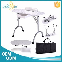 Pattern Manicure Table Mini Luxury Nail Salon Furniture With Wrist Rest