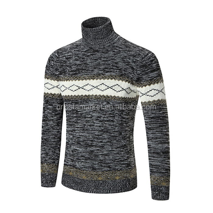 Top Fashion Knit Stitching High Collar Men Pullover Sweater