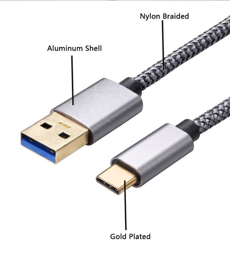 High Speed Aluminum Shell Nylon Braided Fast Charging 3.0 Usb Type C cable For Huawei Mobile Phone