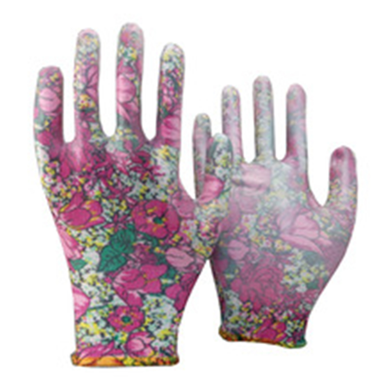 Brand MHR China pu gloves top finger tips fit pu polyester gloves