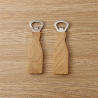 Promotional bottle shape wooden bottle opener magnetic Maple Wood bottle opener