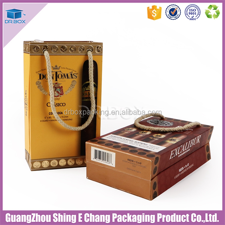 quality importers paper covered empty cigar box with hemp rope