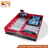 high quality small cardboard fishing glasses display pdq for supermarket