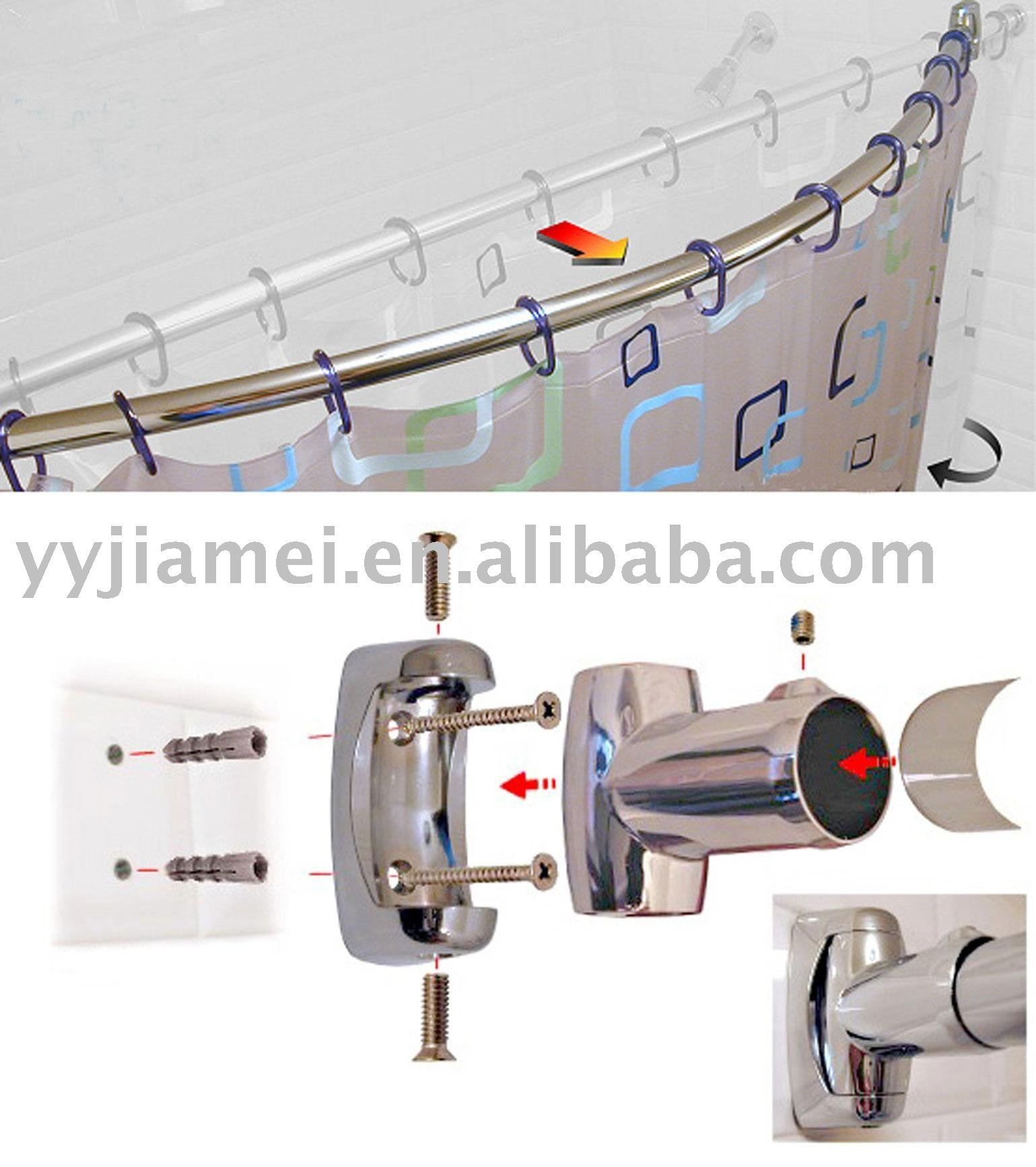 crescent shower curtain rod