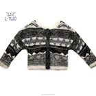 kids sweater/girls' mohair jacquard cardigan with special knitting pattern