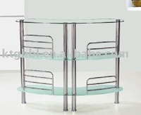 tempered glass and iron leg plating bar counter TV stand
