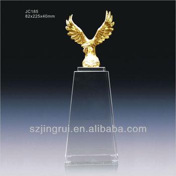 Custom Design Crystal Glass Gold Eagle Trophy Award Plaque JC185