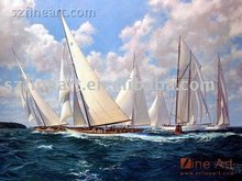 Ocean waves sailboat beautiful landscape oil paintings