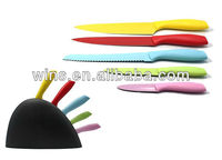 plastic handle colorful non-stick kitchen safety knives