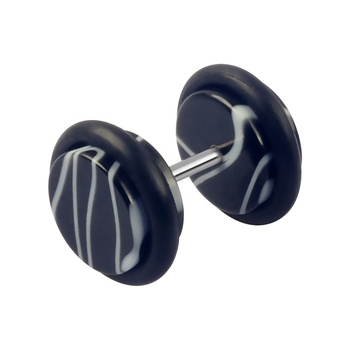 Wholesale Black Acrylic Ear Tunnel White Stripe Ear Piercing Jewelry with Two Rubber Rings
