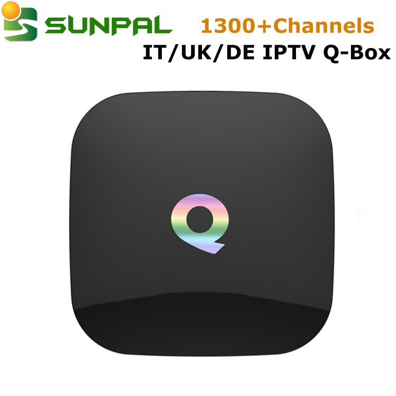 Android tv box Q BOX with one year IPTV Subscription Italy Germany English Albania IP TV Channels IUDTV apk account for Android