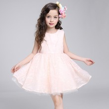 Wholesale Hot Sale Handmade Embroidered Peach Color Princess Style Girls Dresses LW001