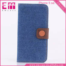 Denim Wallet Leather Case For iPhone 5 Se Card Slot Flip Phone Case For iPhone 5 Se