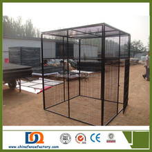 Use 32mm OD tube and steel wire outdoor PVC coated chain link large Dog Kennel Runs