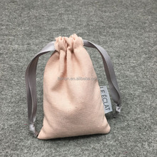 Customized cotton Linen Pink Jewelry Drawstring bag With Gray Silk Ribbon ,Sewed Lable
