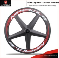 China professional road 5-Spoke carbon wheels 700c tubular carbon bicycle wheels