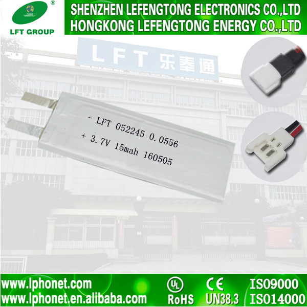 New technology super thin 3.7v 15mah li-ion battery 052245 lithium-ion batteries for sale