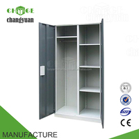 Cheap bedroom metal almirah steel clothes wardrobe closet with doors
