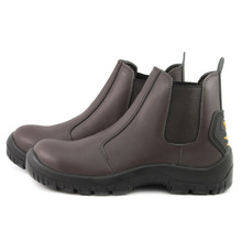 NMSHIELD PU/TPU outsole elastic style middle cut brown smooth cow leather lady work chelsea safety boots