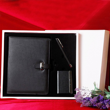 Business Gift Wired Notebook with Card Holder Pen Custom Made Agenda