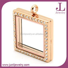Hot Sale Rectangle CZ Stainless Steel Glass Locket Memory Charm Floating Locket