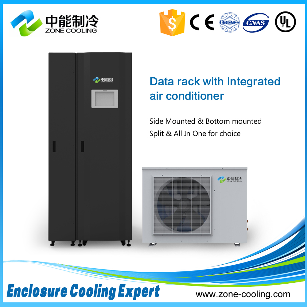Server rack with integrated air conditioner