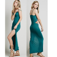 High slit sexy maxi night dress picture ladies knit maxi dress