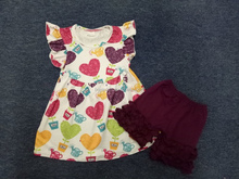 Hottest fashion cute heart color tunic with short baby christening outfits