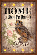 shabby chic night owl design wooden living room wall plaque,lighted canavs art