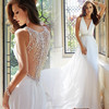 Lastest Gowns Alibaba Elegant V Neck Heavy Beaded informal Beach Chiffon Wedding Dresses Vestidos de Novia 2016 LW253