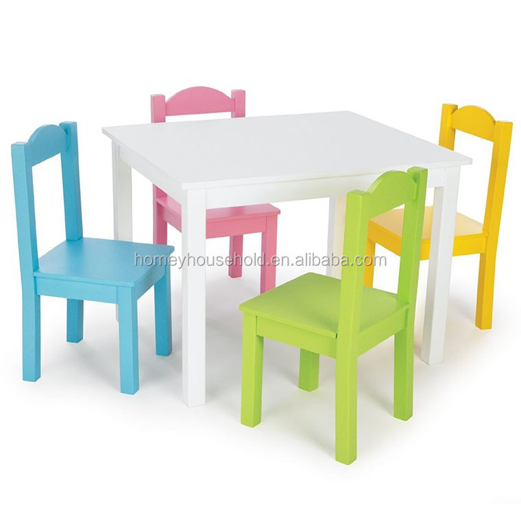 cheap and high quality wooden kids table and chair set and colorful kids chairs