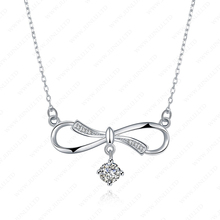 Vogue jewelry wedding necklace bowknot 925 italy silver necklaces