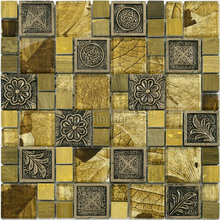 Moroccan style gold color resin pattern crystal mosaic tile 3d bathroom wall tile