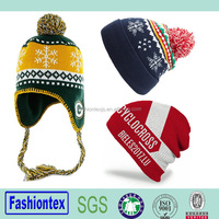 100% Acrylic Custom Knit Earflap Beanie Hats Winter Warm Beanie Hat