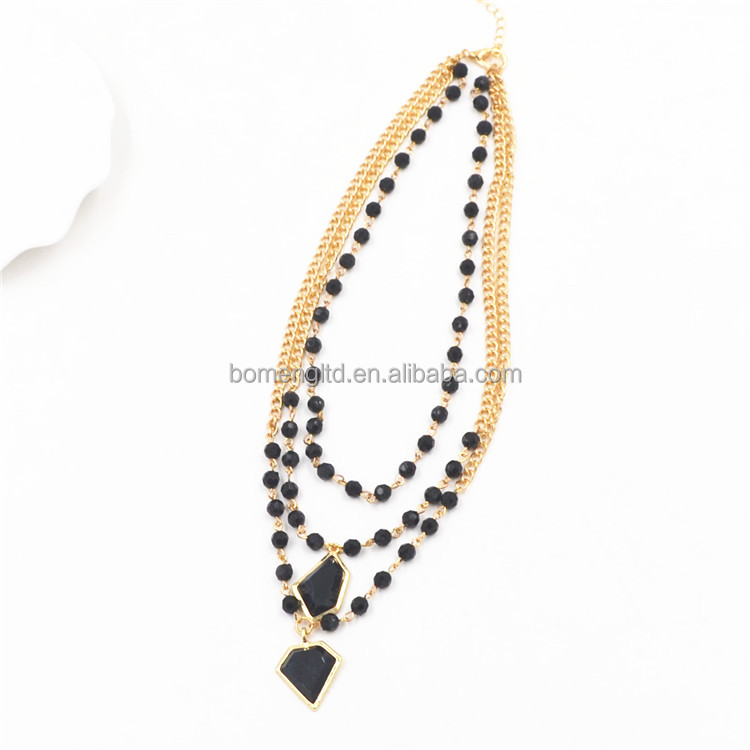 3layers handmade black bead necklace with the resin pendant