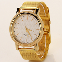 2016 Hot Sale Fashion Quartz Cheap Mesh Band Gold Plated Wrist Watch