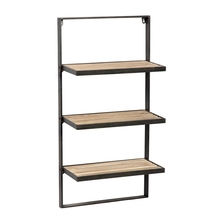 3 <strong>Shelves</strong> Solid Wood Industrial Style Bookcase, Wooden and metal book rack