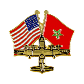 Special Shape Airplane Metal Flag Lapel Pin Badge