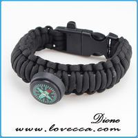 Outdoor camping&hiking men sport 7 Strands paracord survival bracelet with fire starter buckles
