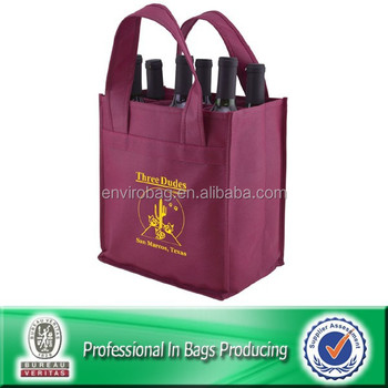 100% Recycled non woven 6 bottle wine bag